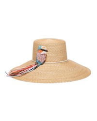Eugenia Kim Mirabel Straw Sun Hat W Beaded Bird Detail Natural