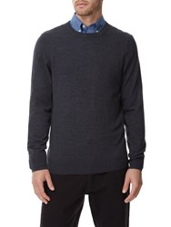 Austin Reed Merino Grey Marl Crew Neck Jumper Dark Grey