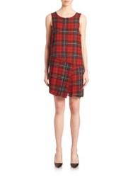 R 13 Asymmetrical Plaid Dress Red Plaid
