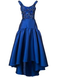 Marchesa Notte Floral Embroidered Asymmetric Gown Blue