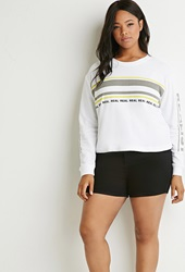 Forever 21 Real Graphic Colorblocked Sweatshirt White Multi