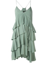 Erika Cavallini Long Ruffled Cami Top Women Silk Acetate 40 Green