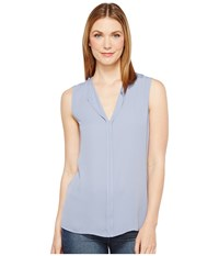 B Collection By Bobeau Lily Pleat Back Woven Tank Top Blue Women's T Shirt