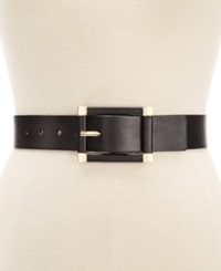 Style And Co. Rectangle Wide Stretch Belt Black