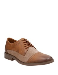 Clarks Garran Two Tone Leather Oxfords Tan