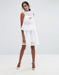 Closet London Mini Skirt In Sheer Dogtooth Co Ord White