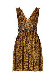 Etoile Isabel Marant Balzan Floral Print Chiffon Dress Yellow