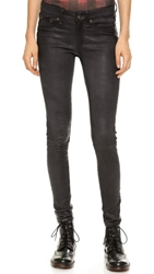 Rag And Bone The Leather Skinny Pants Washed Charcoal