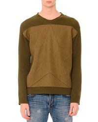 Red Valentino Tonal Star Patch Colorblock Crewneck Sweater Army Men's