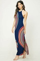 Forever 21 Halter Geo Print Maxi Dress Navy Pink