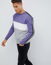 New Look Sweatshirt With Colour Block In Purple Bright Purple Red
