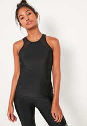 Missguided Active Black Mesh Insert Sports Vest