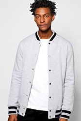 Boohoo Jersey Baseball Jacket Grey