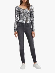 French Connection Zena Sequin Vest Top Grey Slate Silver