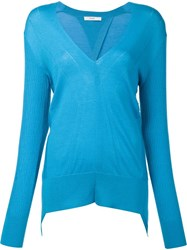 Tome Ribbed Sleeves V Neck Jumper Blue