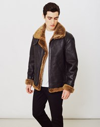 The Idle Man Shearling Flight Jacket Brown