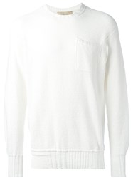 Maison Flaneur Chest Pocket Jumper White