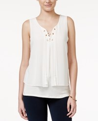 Amy Byer Bcx Juniors' Lace Up Double Layer Tank Top White
