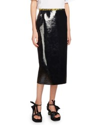 Dries Van Noten Selma Faux Leather Pencil Skirt Black