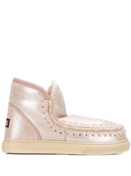 Mou Knitted Detail Sneaker Boots Pink