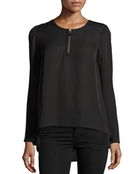 Laundry By Shelli Segal Pleated Back Zip Blouse Black