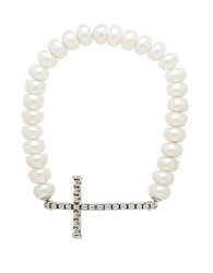Honora Style Sterling Silver Freshwater Pearl Cross Bracelet Pearl Silver