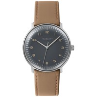 Junghans 027 3401.00 Men's Max Bill Automatic Stainless Steel Leather Strap Watch Tan Grey