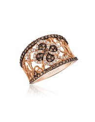 Le Vian Chocolatier Vanilla And Chocolate Diamond And 14K Strawberry Gold Ring Rose Gold