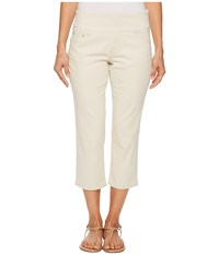 Jag Jeans Petite Peri Straight Pull On Twill Crop In Stone Stone Women's White