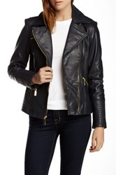 Vince Camuto Genuine Leather Moto Jacket Blue