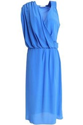 Vionnet Draped Silk Crepe Dress Light Blue