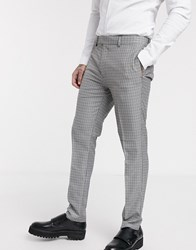 Topman Skinny Smart Trousers In Blue And Grey Check