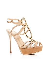 Sergio Rossi Farrah Caged Platform High Heel Sandals Honey Cream