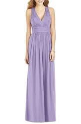 After Six Women's Crisscross Back Ruched Chiffon V Neck Gown Passion