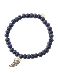 Sydney Evan 6Mm Faceted Sapphire Beaded Bracelet With 14K Gold Diamond Medium Horn Charm Made To Order