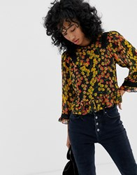 Whistles Fifi Daisy Print Fluted Sleeve Top Multi