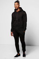 Boohoo Fit Distressed Hooded Tracksuit Black