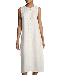 Neiman Marcus Mandarin Collar Linen Shift Dress Beige