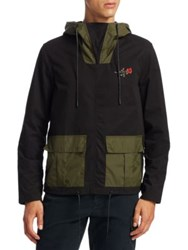 Saks Fifth Avenue X Anthony Davis Popover Cotton Hoodie Caviar Olive