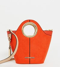 River Island Tote Bag With Circle Handle In Orange Red