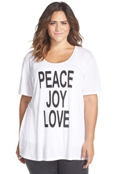 Cj By Cookie Johnson 'Peace Love Joy' High Low Tee Plus Size White