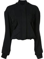 Haider Ackermann Cropped Jersey Bomber Jacket Black