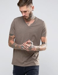 Asos T Shirt With V Neck In Brown Marl Fol Marl