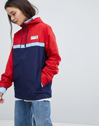 New Balance Colourblock Windbreaker Jacket In Red