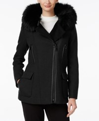 Calvin Klein Faux Fur Trim Hooded Walker Coat Black
