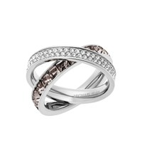 Michael Kors Pave Silver Tone Eternity Ring