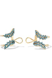 Noir Jewelry Gold Tone Crystal Ear Cuffs Turquoise
