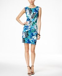Connected Floral Print Tiered Sheath Dress