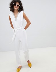 Mango Lace Front V Neck Jumpsuit In White