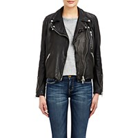 Barneys New York Women's Lambskin Moto Jacket Blue
